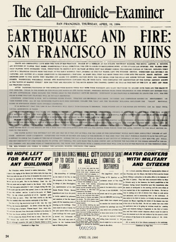 SAN FRANCISCO: EARTHQUAKE. 