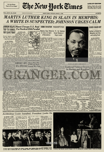 Image of MARTIN LUTHER KING ASSASSINATION, 1968  - Front