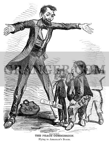 Image Of Lincoln Cartoon 1865 The Peace Commission Flying To