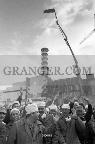 Image of CHERNOBYL, 1986  - Construction Workers Gathered To