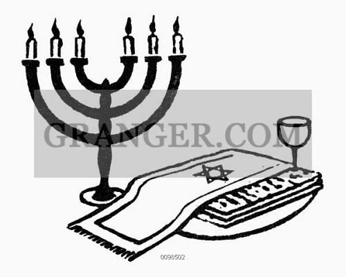 Image Of Symbol Passover Candelabra Wine Glass And Matzoh