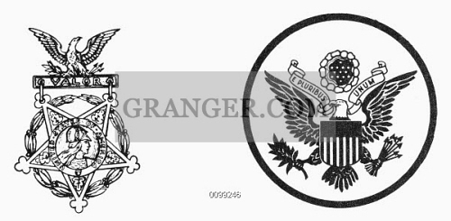 Image of SYMBOLS: U S  ARMY  - Emblem Of The U S  Army (right) And
