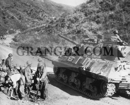 KOREAN WAR CIVILIANS On The West Central Front In Korea An American Tank