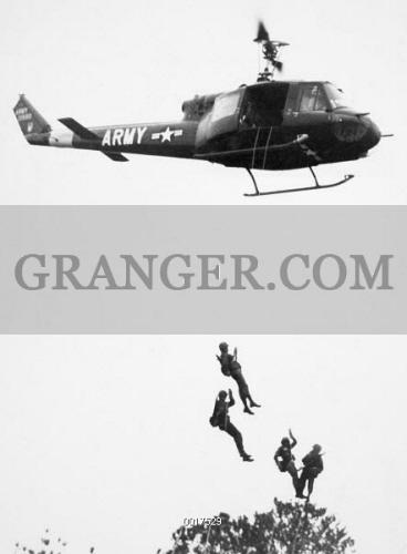 Image of VIETNAM WAR: HELICOPTER  - U S  Troopers Rappel