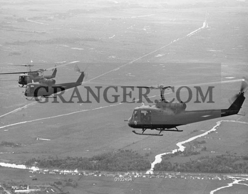Image of VIETNAM WAR: HELICOPTERS  - American UH-1B Helicopters In