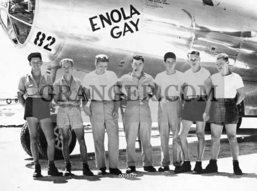 WORLD WAR II: ENOLA GAY. Colonel Paul W. Tibbets (center) and