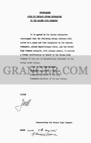 Image Of German Surrender 1945 Agreement Signed By General