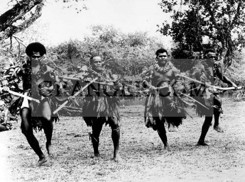 Image of FIJI: MEN DANCING, 1958  - Fijian Men Performing The Meke