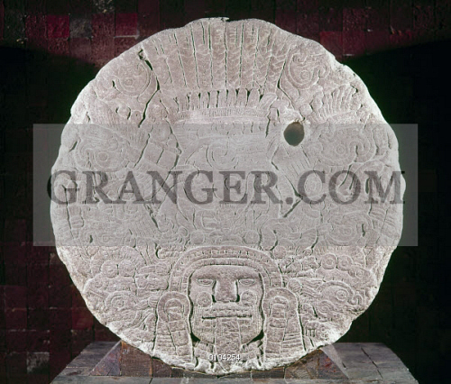 Image of aztec stone relief. carved stone slab with a