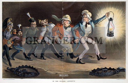 CARTOON  BOXER REBELLION.  In the Chinese Labyrinth.  Cartoon showing Uncle  Sam 376b3e036e93