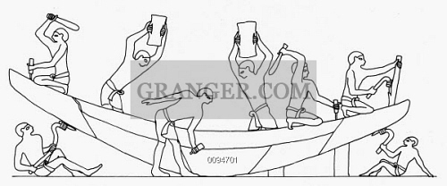 EGYPTIAN BOAT Building A Wooden Boat Drawing From Tomb Painting C2500 BC