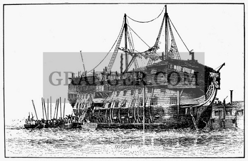 Image of PRISON SHIP, ENGLAND  - An English Convict Ship In