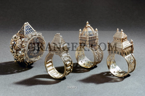 ceremonial marriage rings ceremonial jewish wedding rings italian early 17th and 18th century - Jewish Wedding Rings